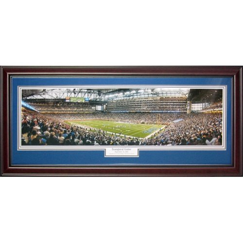 Detroit Lions (Inaugural Game - Ford Field) Deluxe Framed Panoramic Photo