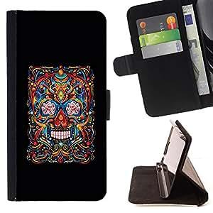 BullDog Case - FOR/LG OPTIMUS L90 / - / SKULL LIFE DEATH BLACK FLORAL ART SPRING /- Monedero de cuero de la PU Llevar cubierta de la caja con el ID Credit Card Slots Flip funda de cuer