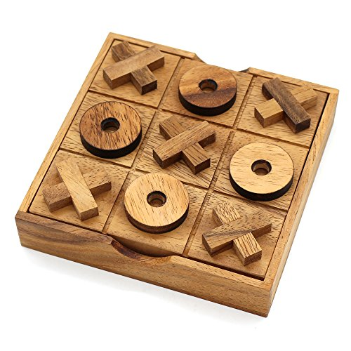 BSIRI Tic Tac Toe Wooden Board Games Noughts and Crosses Family Brain (Leather Travel Chess)