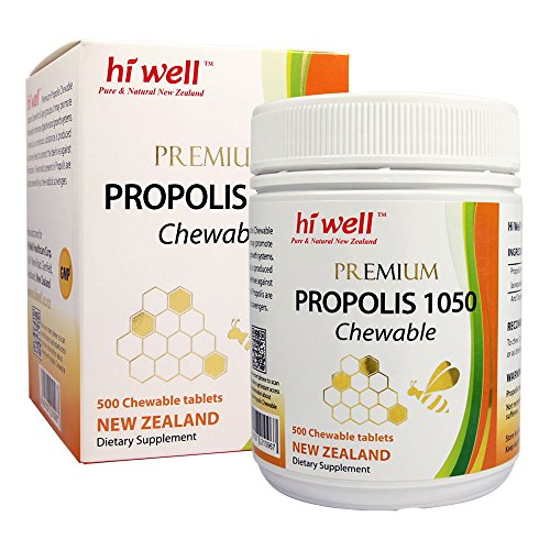 Hi Well Premium Bee Propolis 1050mg 500 Chewable Tablets New Zealand Bee Immune Support Vitamins Minerals & - Propolis Chewable Bee