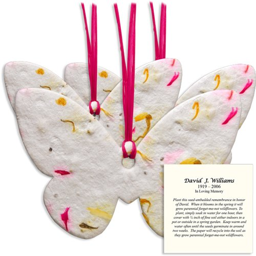 Large Plantable Memorial Shapes With Personalized Instructions Card (Pink Butterfly) by Passages International