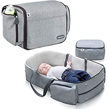 Babymoov Travelnest Comfortable Moveable Bassinet | 3-in-1 Journey Crib, Altering Station and Diaper Bag, Grey
