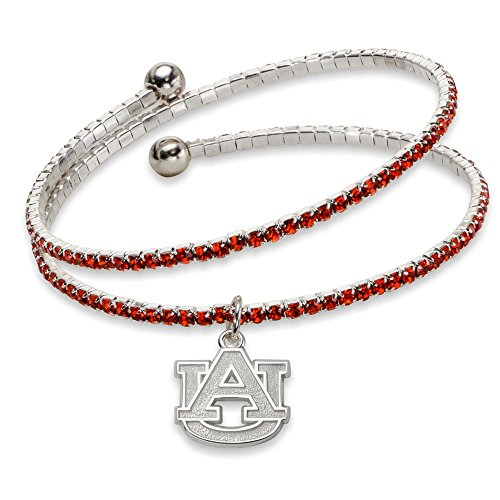 White Brass Auburn University NCAA Alabama Jewelry Bracelets Auburn UNIV Amped Logo Crystal Bracelet ()