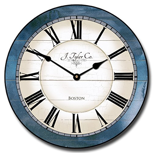 Carolina Blue Wall Clock, Available in 8 Sizes, Most Sizes Ship 2-3 Days, Whisper Quiet.
