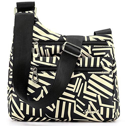STUOYE Nylon Multi-Pocket Crossbody Purse Bags for Women Travel Shoulder Bag (White Strip)