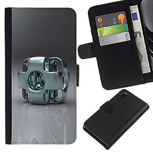 KLONGSHOP // Tirón de la caja Cartera de cuero con ranuras para tarjetas - Arte abstracto del metal - Sony Xperia Z3 D6603 //