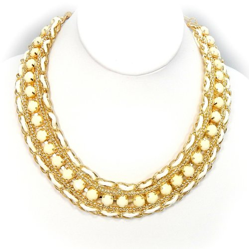 Pro Jewelry Bib Bauble Necklace in White Acrylic w/ Rope & Gold Chain 0026-2