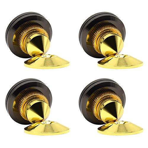 BEKER 4 Sets Stainless Steel Speaker Spike Shockproof Golden-Plated Speaker Spikes Adjustable Isolation Feet Stand Cone Pad Speaker Stands Speaker Stands Speaker Spike Stand Feet Cone