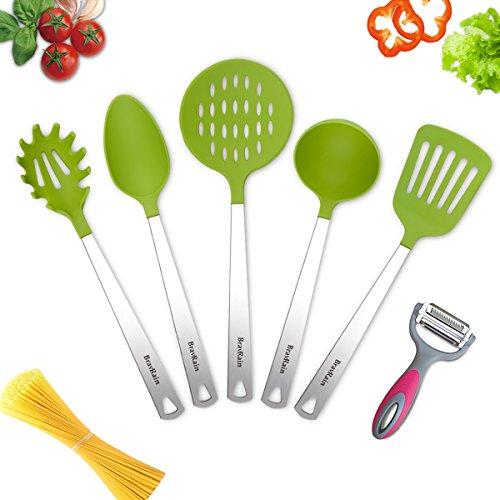 Kitchen Utensils, BravRain 6 Piece Nonstick Non-Scratch Cooking Utensils, Nylon and Stainless Steel Kitchen Tools Set - Spoon, Spatula, Skimmer, Ladle, Pasta Server, Vegetable Peeler (Green Utensil)