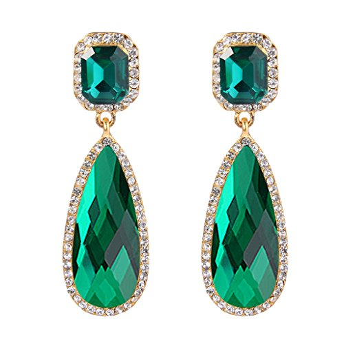 BriLove Women's Wedding Bridal Crystal Dangle Earrings with Asscher Cut Elongated Faceted Teardrop Infinity Design Emerald Color (Emerald Cut Dangle)