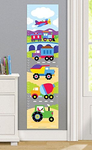 Olive Kids Trains, Planes and Trucks Wall Decal Growth Chart - Kid Art Tractor
