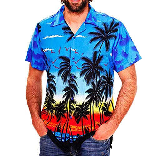 Pengy Fashion Men's Hawaii Print Shirt Casual Button Beach Blouse Short Sleeve Quick Dry Top for Males Blue