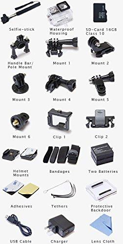USATREKKER W9 Wifi 12mp 170 Degree 1080p 2 inc LCD Digital Waterproof Car Bike Helmet Sports Action Camera Set (Camera, 16GB card, Extra battery, Selfie Stick)