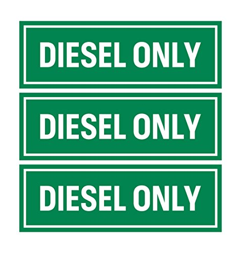 Diesel Only Sticker Sign (Pack of 3) | Adhesive Fuel Decal for Trucks, Tractors, Machinery and Equipment (Best Diesel Gas Stations)