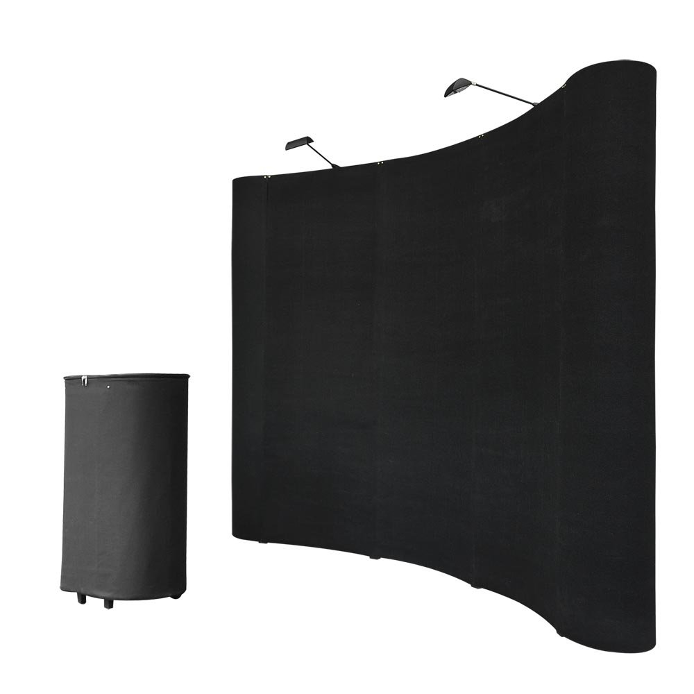 8FT Black Pop Up Trade Show Display Booth Floor Presentation Kit Trolley Case Presentation Board Spotlights