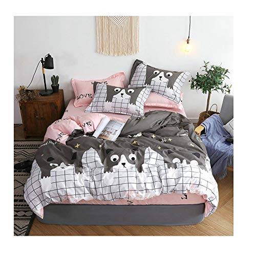 Little Cat, Grey Queen 78 x91  KFZ Unicorn Panda Cat Printed Bed Set BeddingSet Includes Comforter Cover Fitted Sheet Pillowcases Twin Full Queen Sheets Set Super Soft for Kids Adult 4pcs Set (Little Panda, Pink, Queen 78 x91 )