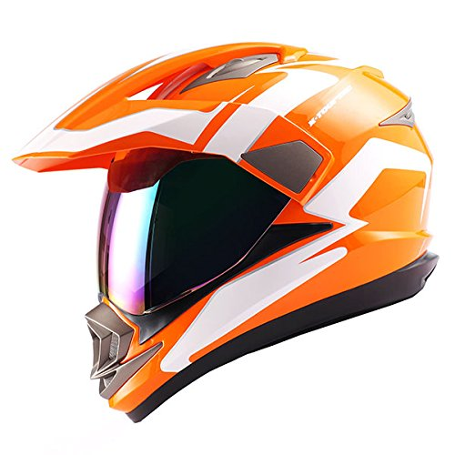 Dual Sport Helmet Motorcycle Full Face Motocross Off Road Bike Racing Orange White
