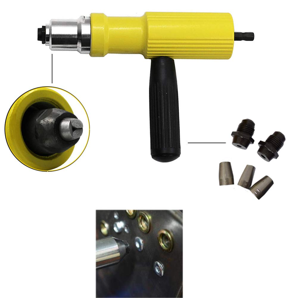 New Hope Stroe Electric Rivet Gun Head, Professional Riveter Nut Gun for Cordless Electric Drill Riveting Adapter Insert Nut Tool Kit with 3 Nosepieces 2/23'', 6/61'', 1/8'' by New Hope Stroe (Image #7)