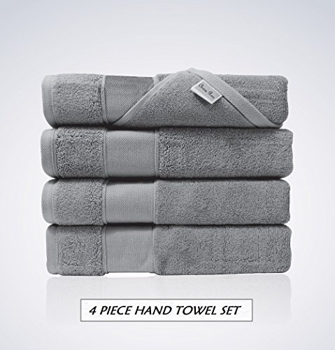 Lint Free 4 Piece Turkish Hand Towel Set Clearance Prime Kitchen Bathroom (Bulk Pack of 4) 700 GSM Quick Dry Off Premium Cotton, Spa Hotel Quality Luxury Reserve Designer 2018 Collection Bundle Gray