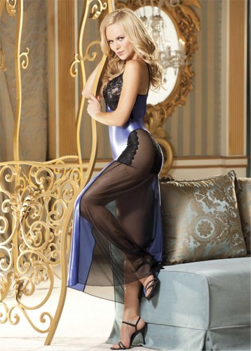 Shirley of Hollywood Shiny Lycra And Stretch Lace Long Gown (3234)