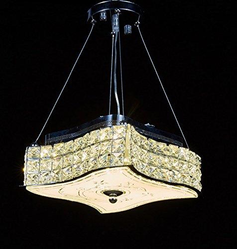 New Legend Modern LED Crystal Chandelier Pendant Hanging or Flush Mount Ceiling Lighting Fixture, 3 light colors in one Smart Lamp
