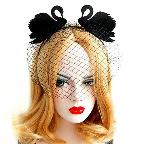 (QTMY Black Swan Face Veil Yarn Eye Mask Headdress Hairdress for Halloween Party)