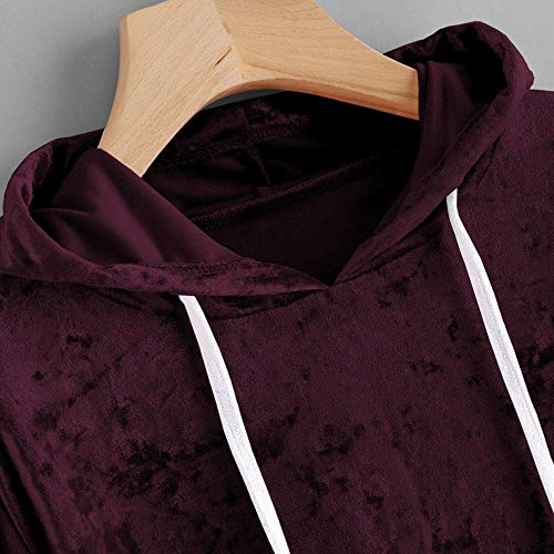 Pull 1 Capuche Beikoard à Over Manches Pull Chemisier Femme Vin Sweat à Top à Longues Velvet Capuche Shirt Sweat Du rpIHpqv
