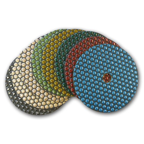 Toolocity DPP7SETB 7-Inch Shine-Plus Dry Diamond Polishing Pads Black Buff, 8-Piece by Toolocity