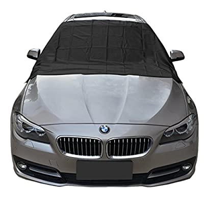 "Magnetic Edges Windshield Snow Cover - Frost Windshield Cover - Snow, Ice, Frost Guard No More Scraping - Door Flaps Windproof Fits Most Car, SUV, Truck, Van with 83""x48"""