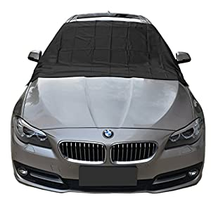 "Magnetic Edges Windshield Snow Cover - Frost Windshield Cover - Snow, Ice, Frost Guard No More Scraping - Door Flaps Windproof Fits Most Car, SUV, Truck, Van with 57""x48"""