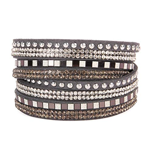 RIAH FASHION Bohemian Faux Suede Leather Wrap Multi Layer Bracelet - Boho Wrist Adjustable Cuff Bangle Crystal Rhinestone/Metallic Bead/Natural Stone Embellishment (Square Stud Mix - Gray)