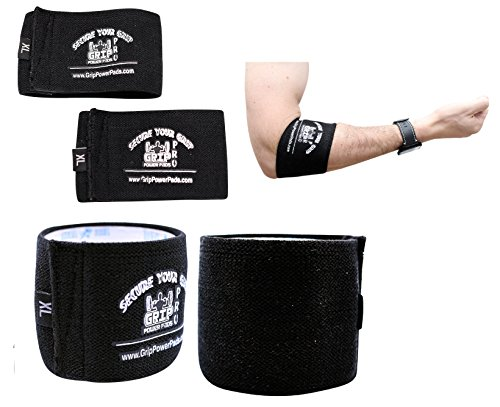 Tennis Elbow Cuff - Grip Power Pads Elbow Compression Sleeve (2 Count) Golf Elbow Brace Weightlifting Sleeve Tennis Strap Arthritis & Tendonitis Pain Relief Workout Arm Support Sleeve (Black, 3X-Large 13