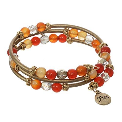 (Elements Triple Coil Metal & Gemstone Bracelet (Fire Element))