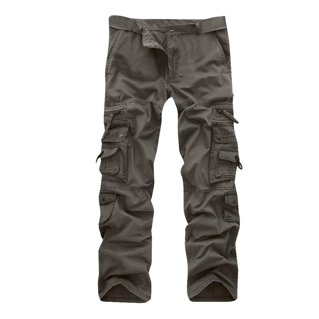 Allywit Casual Military Pants, Cotton Camo Tactical Wild Combat Cargo Sport Pleated Multi Zipper Pockets Trousers Plus Size