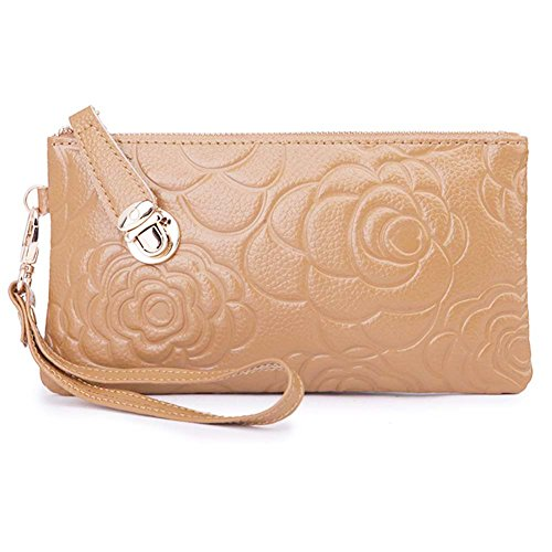 Amazon Prime Deals 2017-Women's Genuine Leather Cell Phone Wristlets Wallet,Welegant Zipper Clutch Purse Bag for iPhone Samsung (Rose Flower, Light Brown) (Deals Amazon)