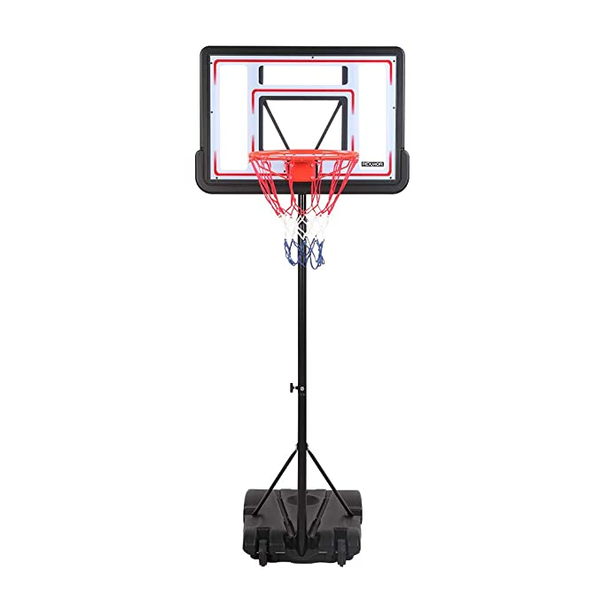 "PEXMOR Basketball Hoop Portable Adjustable Height Poolside Basketball Stand System for Youth Kids Teenagers Indoor Outdoor with 32"" Width PVC Backboard 2 Nets Wheels"