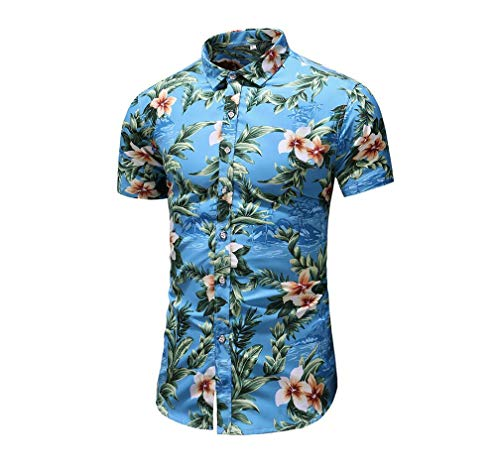 GUJMin Men's Shirt Short Sleeve Slim Fit Hawaii Beach Leisure Vacation Flower Shirt(multicolored-22 2X-Large)