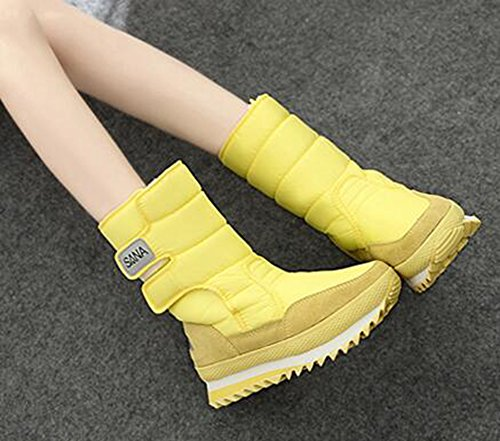 CHFSO Womens Casual Solid Waterproof Faux Fur Lined Hook-and-loop Mid Calf Low Heel Winter Warm Snow Boots Yellow QzvyNx46