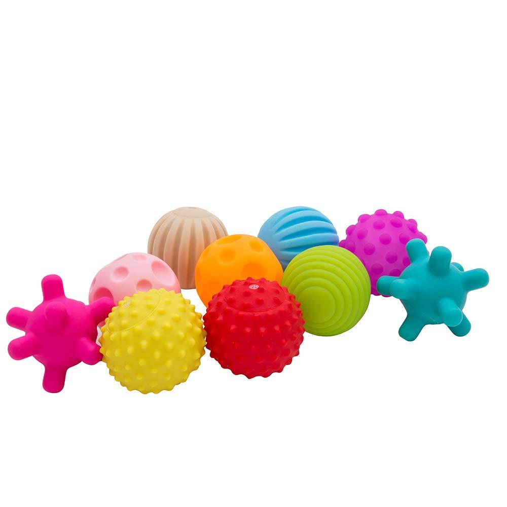 10 Stück Sensory Baby Ball Set Strukturierte Bälle Massage Motorikspielzeug Handfang Entwicklung Regenbogenball Pädagogisch für Weinachten Geschenke willkey