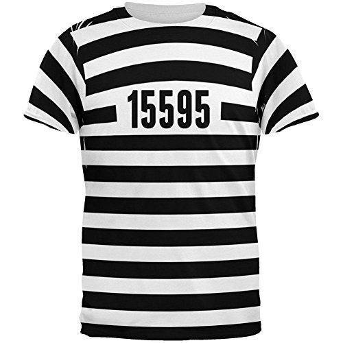 Glory Striped Shirt (Halloween Prisoner Old Time Striped Costume All Over Adult T-Shirt - 2X-Large)