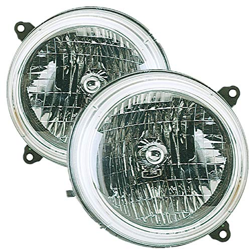 For 2002 Jeep Liberty Headlight Headlamp Driver Left and Passenger Right Side Pair Set Replacement CH2502136 CH2503136