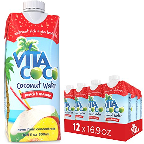 Vita Coco Coconut Water, Peach and Mango, 16.9 Ounce (Pack of 12) ()