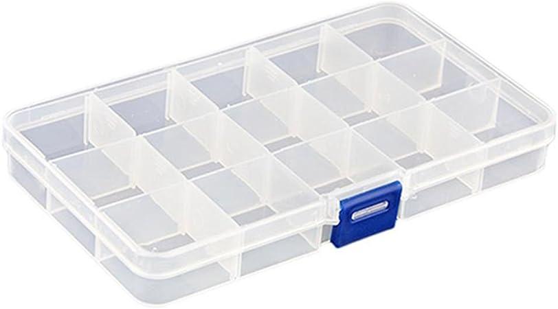 Kentop - Caja organizadora de plástico con 15 compartimentos para herramientas, transparente: Amazon.es: Hogar
