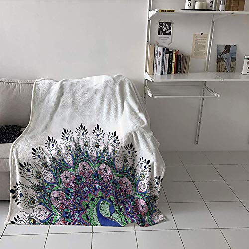 Children's blanket room/bedroom Warm All Season Blanket for (60 By 80 Inch,Peacock Decor,Peacock Pattern and Exotic Wildlife Feather Ornament Vintage Oriental Image,Pink Navy Green (Feather And Fan Knitting Pattern)