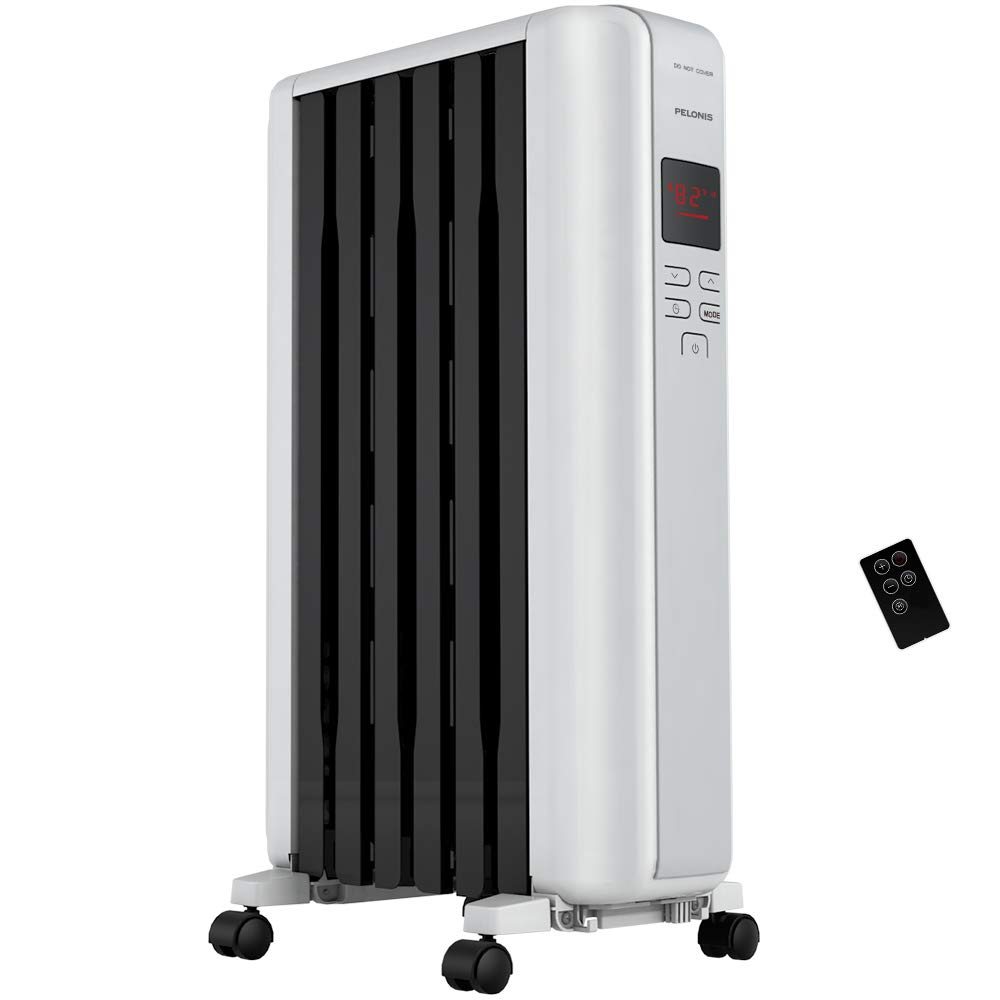 Pelonis Space Heater in Steel Cover, Portable Oil Heater with Thermostat, 24Hr Auto On Off Timer, Remote, Oil Filled Radiator Full Room Heater with Tip Over Overheat Protection for Indoor Use