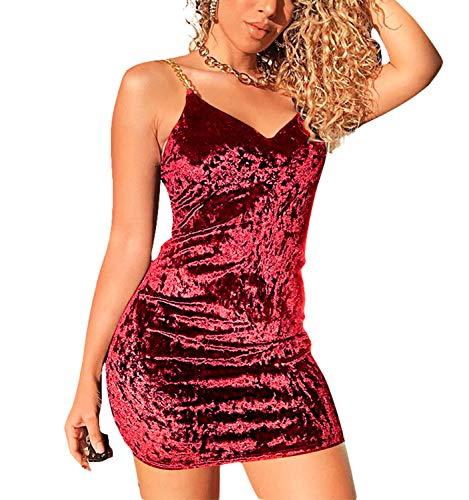 Women's Velvet Bodycon Wrap Mini Dress, Sleeveless Spaghetti Straps Sexy V Neck lub Party Cocktail Dress (Red, S)