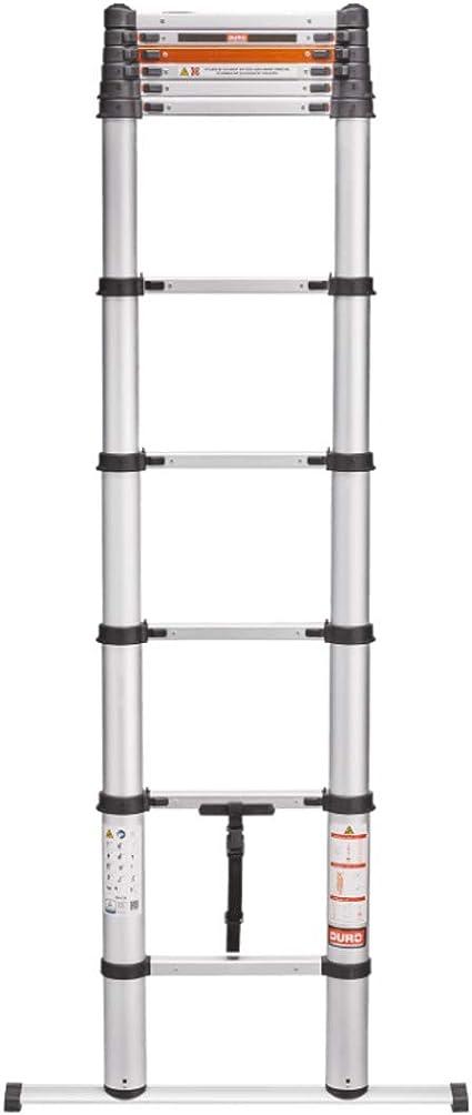 Escalera telescópica de aluminio, plástico; 10 peldaños más travesaños; telescópica de aprox. 87 hasta 329 cm.: Amazon.es: Bricolaje y herramientas