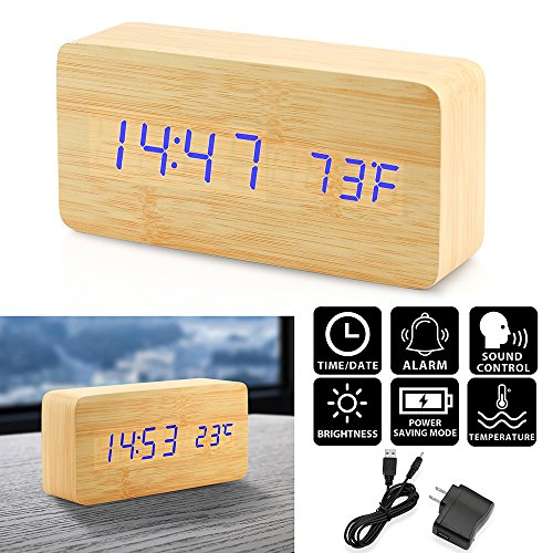 Oct17 Wooden Digital Alarm Clock, Fashion Multi-function LED Alarm Clock with USB Power Supply, Voice Control, Timer, Thermometer - Bamboo