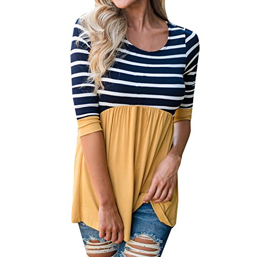 hirt Dress 3/4 Sleeve Peplum Tunic Tops Babydoll Casual Striped With Ruffle Hem … (Maternity Top)