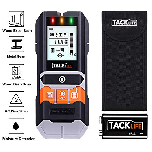 Stud Finder, 5 in 1 Multi-Functional Center Finding Wall Scanner Detector with LCD Display, Lights and Sound Warning for Wood Stud/Metal/Live AC Wire/Moisture Detection, Battery Included- DMS05